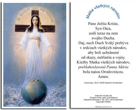 Prayer card, 2 pages - Slovak