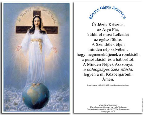 Prayer card, 2 pages - Hungarian