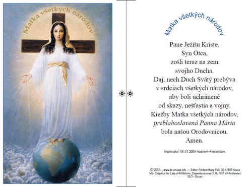 Prayer card, double-sided - Slovak, download for personal printing