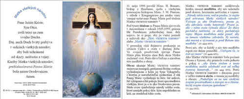 Prayer card, 4 pages, - Slovak, download for personal printing