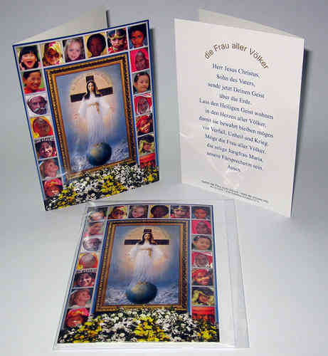 Blank card with the image and prayer of the Lady of All Nations in German