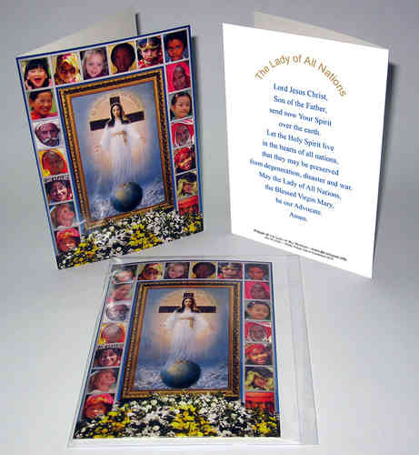 Blank card with the image and prayer of the Lady of All Nations in English