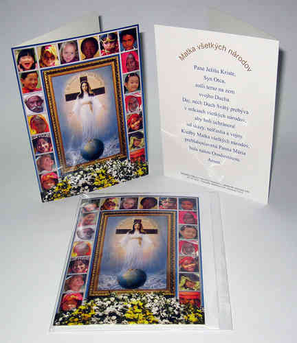 Blank card with the image and prayer of the Lady of All Nations in Slovak