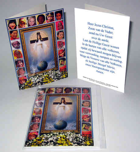 Blank card with the image and prayer of the Lady of All Nations in Dutch